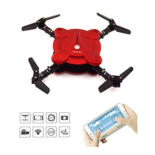LHI Quadcopter Drone with FPV Camera and Live Video - Stretchy Foldable Aerofoils - App and Wifi Phone Change UAV- Camera Altitude Hold Mode RC Quacopter RTF (Red)