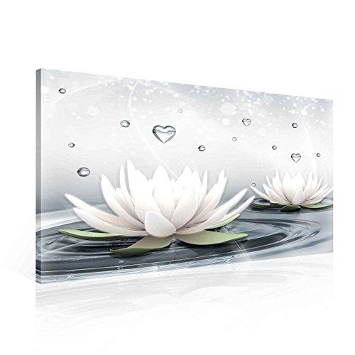 Blumen Lotus Wasser Tropfen Herzen Weiß Leinwand Bilder (PP2523O1FW) - Wallsticker Warehouse - Size O1 - 100cm x 75cm - 230g/m2 Canvas - 1 Piece - Wasser-tropfen