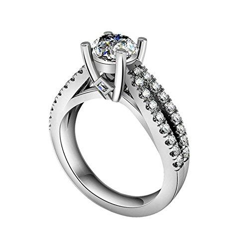 (Custom Ringe)Adisaer Ring Silber 925 Damen Vier Klaue Kristall CZ Zwei Linien Quadrat Verlobungsring Größe 64 (20.4) Kostenlos (Edc 2017 Kostüme)
