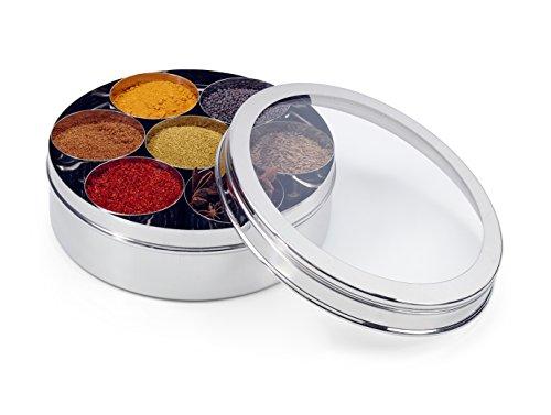 Zinel Gewürzbehälter/Masala Dabba mit 7 Schalen und transparentem Deckel, Edelstahl, 24 cm