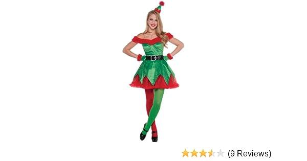 Stockings Ladies Santas Little Helper Cute Elf Christmas Fancy Dress Costume