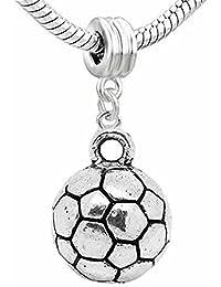 Sexy Sparkles zapato de la mujer con el fútbol, football Dangle Charm Bead para pulseras de cadena de serpiente