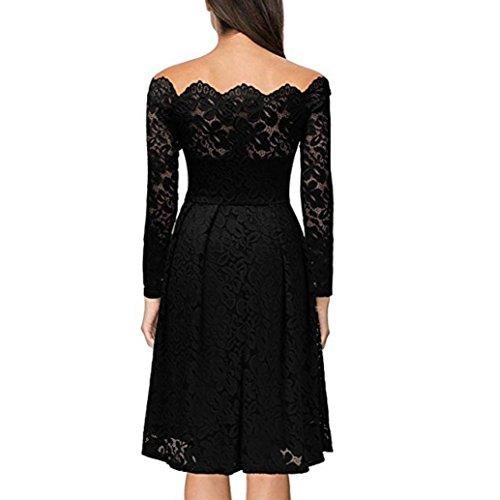 Tonsee Femmes Vintage Floral dentelle manches longues robe de Cocktail Swing formelle Noir