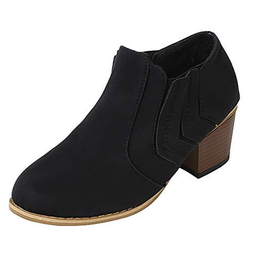 MMOOVV Damen Stiefeletten Mit Absatz Feste Keile runde Kappe Große Mittlere Ferse Stiefel Schuhe (Schwarz 43EU) - Lila Krokodil-design