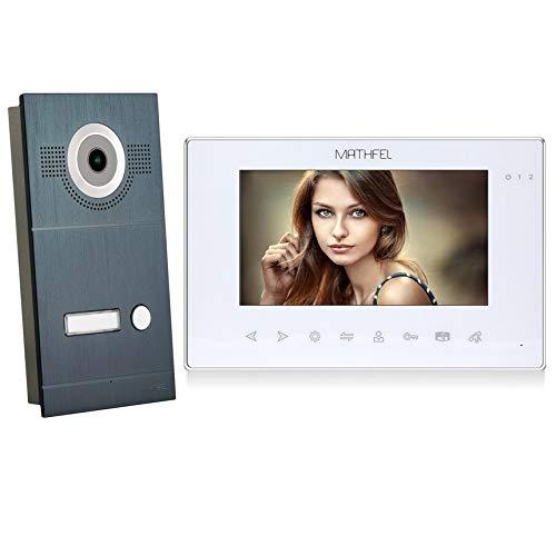 2 Draht Video Türsprechanlage Gegensprechanlage Fischaugenkamera 170 Grad, Anthrazit Außenstation, 1x7\'\' Monitor in weiß