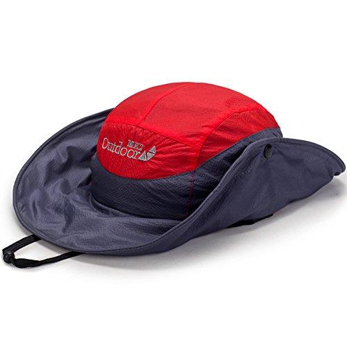 WYYY Chapeaux Hommes Visière Round Top Pliable Respirant Séchage Rapide Protection Contre Le Soleil De Plein Air ( Couleur : Rouge )