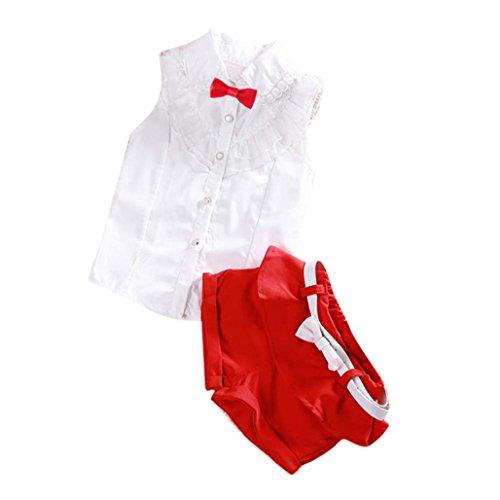 Bekleidung Longra Kleinkind Kinder Baby Mädchen schnüren Bowknot Ohne Arm Tops Bluse Shirt + Hose Shorts Outfits 2PCS Kleiderset Sommerkleidung für Kinder Mädchen(2-7Jahre) (100CM 3-4Jahre, White)