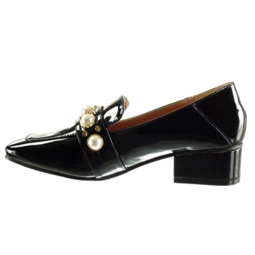 Angkorly - Scarpe Da Donna Mocassino - Slip-on - Borchie - Borchiato - Perla - Brevetto Tacco Alto 4 Cm Nero
