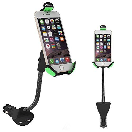 Moobom 2 in 1 KFZ-Ladegerät mit verstellbarer Halterung, für iPhone Handy/Tablet/andere USB-fähige Geräte