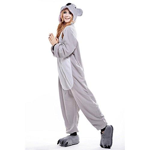 Free Fisher Damen/ Herren Schlafanzug Pyjama, Tier Kostüm, Koala Grau, Gr. M (Körpergröße 160-169 CM)
