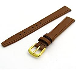 Fine Stitched Calf Leather Watch Strap Band With Pins 8mm Tan with Gilt (Gold Colour) Buckle R624/8
