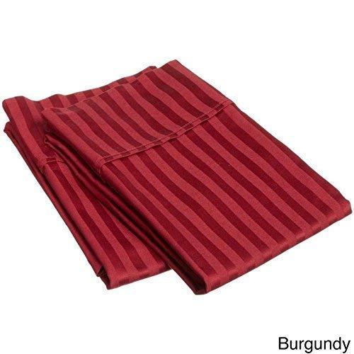 Uniwaresal Cotton Kissenbezüge, 100% Baumwolle, weich und kuschelig, knitterfrei, verblasst Nicht, fleckenabweisend, 2 Stück Standard Size Burgundy Stripe -