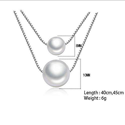 KK NECKLACE Collar de Plata esterlina Cadena de Doble Capa Gargantilla de Perlas simuladas Collares y Colgantes para Mujeres