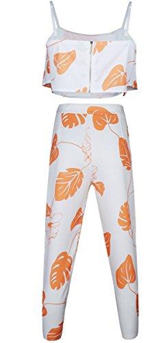 Fancyinn® Frau 2 PC-Spaghetti-Bügel Crop Top + Bodycon beiläufige lange Hose Orange