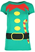 Womens Christmas T Shirt Ladies HOHOHO Snowman Hat Cap Sleeve Jersey Xmas Top