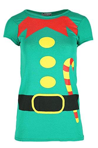 Damen Weihnachten T-shirt Damen Weihnachten Elfe Kostüm Candy Klebe Aufdruck Jersey Oberteil - Grün, - Rot Und Grün Elfe Kostüm
