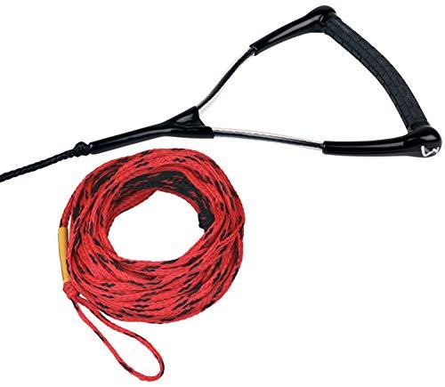 MESLE Wasserski- und Wakeboard-Leine Ergo TR 75', schwimmend, Länge 23 m, verkürzbar auf 16,7 m, ergonomischer Gummi-Griff, rot schwarz, mit Rope Keeper