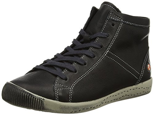 Softinos Damen Isleen Smooth Hohe Sneaker Schwarz (Black)
