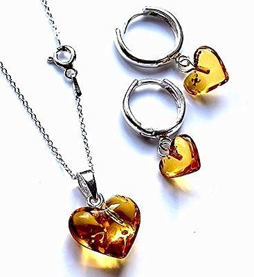 Boucles d'oreilles en argent sterling 925 avec coeurs en forme de coeur et ambre