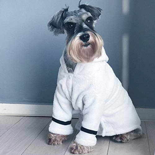 szlsl88 Haustier Bademantel Kapuze Gürtel Pyjama Kostüm Bad Handtuch Weich Winter Dicker Sehr Saugfähig Hund Katze Dusche Modisch Nachthemd Warm (S) - - Dusche Kostüm