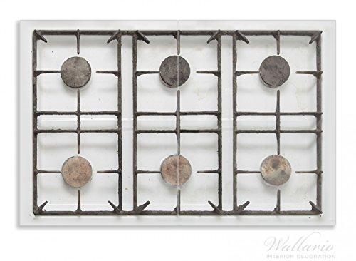 Wallario Herdabdeckplatte / Spritzschutz aus Glas, 2-teilig, 80x52cm, für Ceran- und Induktionsherde, Motiv Alter Gasherd, ungeputzt und dreckig