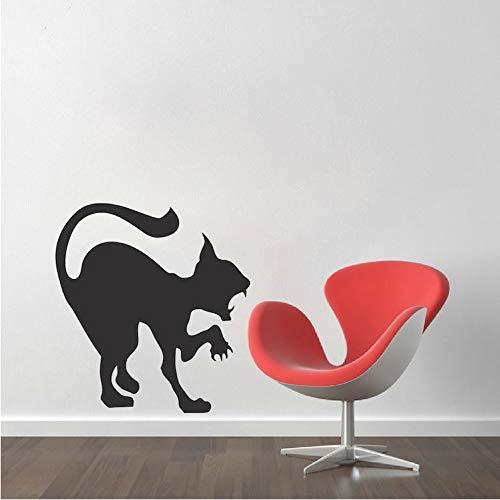 (zhangsh Kunst Wandaufkleber Angriff Katze Silhouette Wandaufkleber Scary Cat Vinyl Applique Familie Halloween Urlaub Art Deco Wall Poster Home Dekoration Wm-48 46X46 cm)