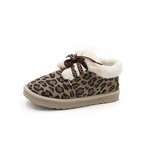 Frauen Wohnungen Lace-up Faulenzer Schuhe Winter Solide Runde Kappe Leopard Dekor Low Heels Damen Plüsch Einlegesohle Schuhe