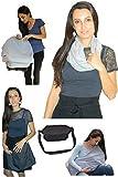 Copertina per allattamento al seno. Infinity sciarpa multiuso grigio 100% cotone scialle