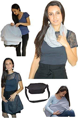 Copertina per allattamento al seno. Infinity sciarpa multiuso grigio 100% cotone s