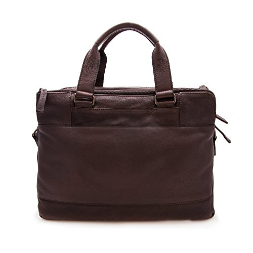 Zerimar Sac porte-documents en cuir Compartiments multiples Mesure: 28X38X9 cms Marron