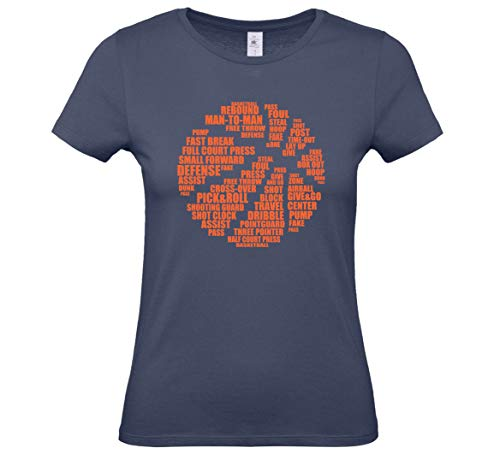 HoB Basketball Icon Text Logo T-Shirt - Damen (Denim, S)
