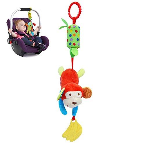 Juguete de Cochecito de Bebé, Colgante Lindo Divertido de Peluche Felpa Musical Suave Cama de Campana Sonajeros para Niños Bebes, Mono