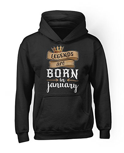 Legends Are Born In January Geburtstagsgeschenk Herren Kapuzenpullover Hoodie Sweatshirt Schwarz Large (Womens Cap Crew)