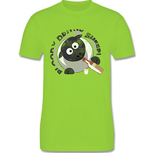 lustige Sprüche - Bloody Drunk Sheep - L190 Herren Premium Rundhals T-Shirt Hellgrün