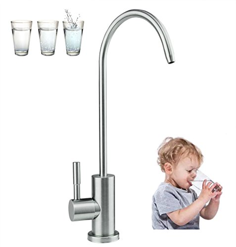 Wasserhahn Edelstahl Trinkwasser (FANHAO Wasserhahn Trinkwasserhahn Trinkwasserfilter aus Edelstahl und Gebürtetem Nickel, 360-Grade-Schwenkbereich, Anti-Leckage, Weicht Hartwasser auf)