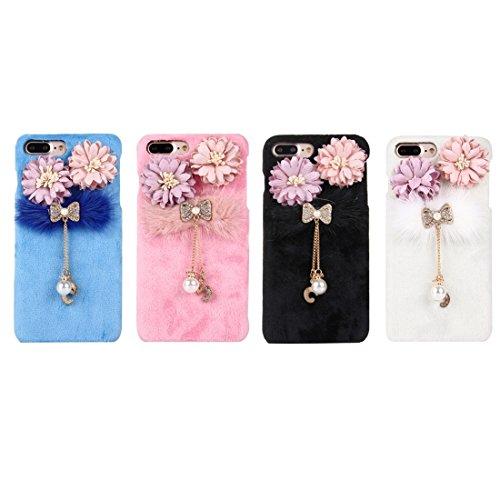 Hülle für iPhone 7 plus , Schutzhülle Für iPhone 7 Plus 3D Blume Plüsch Stoff Abdeckung PC Schutzhülle mit Diamant verkrustet Bowknot Kette Anhänger ,hülle für iPhone 7 plus , case for iphone 7 plus ( Pink