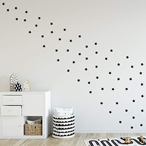 Pack de Pegatinas y Vinilos para Decoración de Pared | Estrellas | Adhesivos Decorativos Formas Geométricas Infantil | 40uds | Blanco, Negro, Rosa, Azul (Negro)