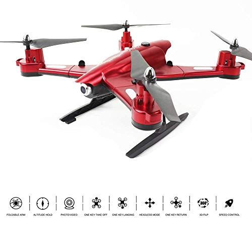RCDNE Pieghevole WiFi FPV Drone con videocamera HD da 2.0MP Video 2.4GHz RC Quadcopter Giroscopio a 6 Assi Volo Stabile 3D Flip Adatto per Principianti di droni,Red