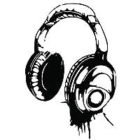 Kult Kanvas DJ Headphones Wall art Sticker Boys bedroom childrens BR54 (60cm x 89cm)
