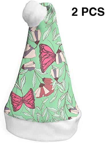 deyhfef Tanzen-Schmetterlings-Weihnachtsweihnachtsmannmütze-Feiertags-Hut Flippiger Party-Hut Bequemer Weihnachtshut 2 PCS M