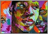 YHMENG Dipinto A Mano su Tela Dipinto Ad Olio Astratta Ritratto Tavolozza Facciata Coltello Pittura A Olio Immagini A Parete per Hotel Bar Home Decor Giallo 16X24