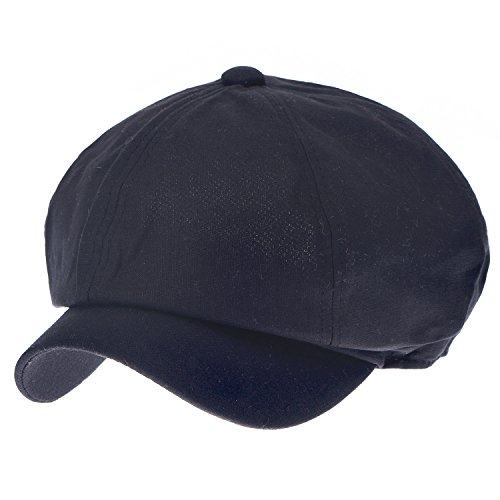 Ililily Linen Newsboy Cabbie Cap Solid Color Duck Bill Flat Hunting Hat