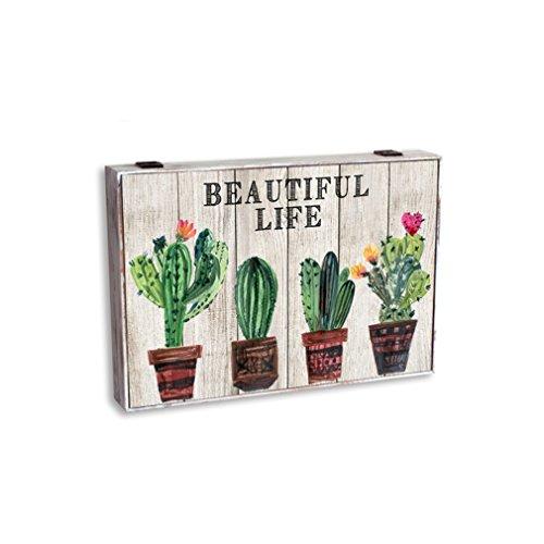 Item Tapa Cubre-Contador, Diseño Cactus, Madera, Verde, 46x6x32 cm