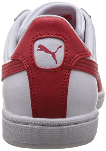 Puma Unisex-Erwachsene Smash Leather Low-Top Weiß (09 white-high risk red)