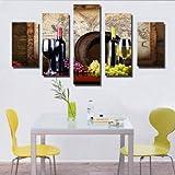 Wall Art Prints sur Toile Peinture sur Toile Festival murales Vert Arbre Image Fruits vin Rouge Photos Accueil Hôtel Bureau d'étude décoration intérieure encadrée 5panels