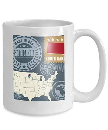 Kaffee Tasse Tee Cupstamps stellten Namenskarte South Dakota USA ein Briefmarken stellten Namenskarte South Dakota USA ein - Tee South Dakota