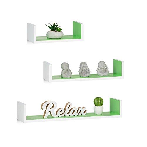 Relaxdays Wandregal, 3er Set, Eckige U-Form, freischwebend, 15cm Tiefe, für Bücher, DVDs, Deko, weiß-grün