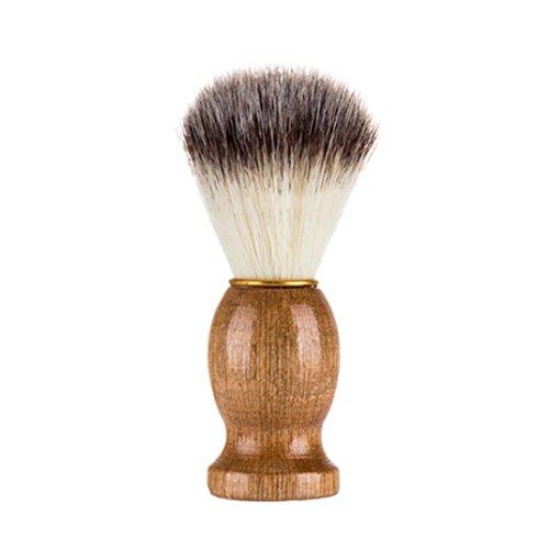 YanHoo Brocha de Maquillaje, Hombres Que afeitan el Cepillo del Oso El Mejor Pelo del tejón afeita la manija de Madera Razor Barber Tool Cepillo de Barba Suave de los Hombres portátiles (Caqui)