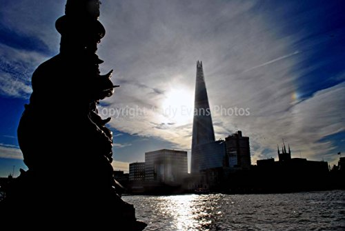 Eine Fotografische Druck der Shard und die Themse London England UK Landschaft Foto Farbe Bild Art Print oder Poster 22,9 x 15,2 cm