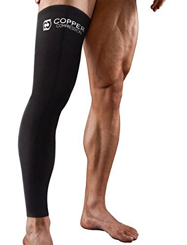 Copper Compression Full Leg Sleeve - Guaranteed Highest Copper Sleeves & Pants Single Leg Pant Tights Fit for Men and Women. Copper Knee Brace Thigh and Calf Socks Basketball, Arthritis - Womens Full Leg Pant